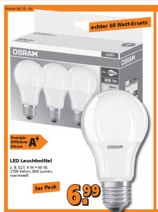 3er Pack Osram LED E27 806 Lumen warmweiß für 6,99€ bei Globus Baumarkt