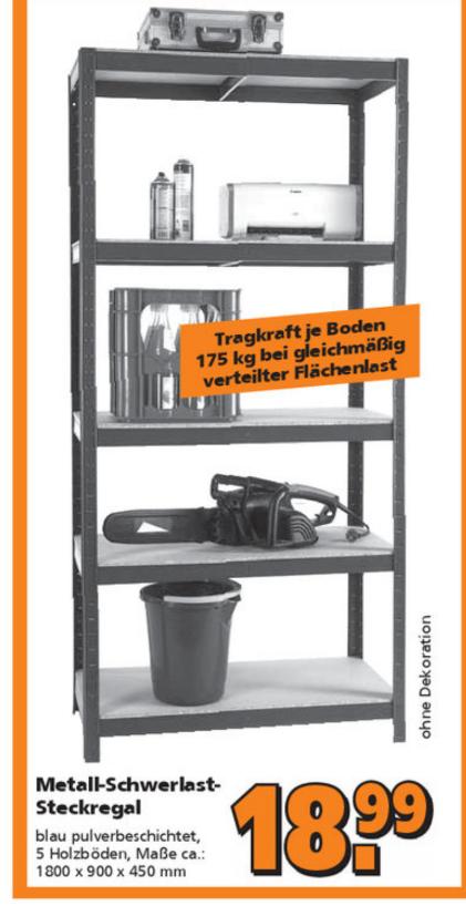 Metall-Schwerlast-Steckregal mit 5 Holzböden für 18,99€ bei Globus Baumarkt