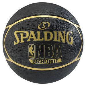 NBA Basketball Statt 29,99 für 15,99 EUR - 46% gespart - Spalding Highlight Outdoor Streetbasketball schwarz/gold Gr. 7