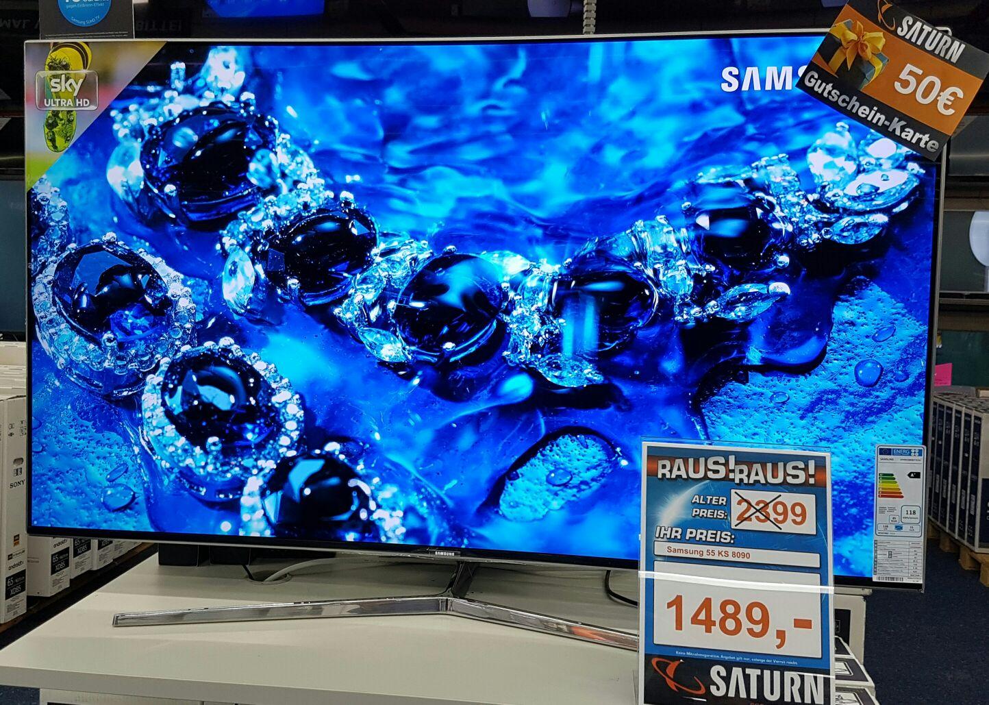 Saturn Stuttgart Samsung UE 55 KS 8090 inkl. 50,-€ Gutschein für 1489,-€
