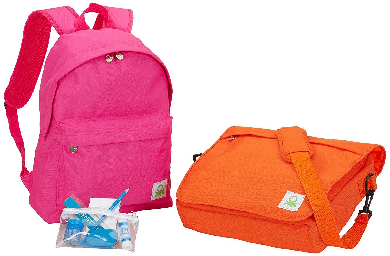 Benetton Schulranzen-Set (besteht aus Schultertasche, Rucksack [Pink oder Blau] und Schlampermäppchen)  --> ab 11,21 € + 3 € Versand