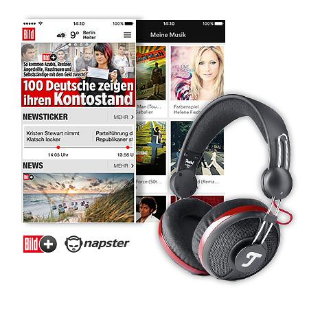 BILDplus Soundpaket mit BILDplus Digital, Napster Musik-Streaming, Kopfhörer Aureol Real von Teufel