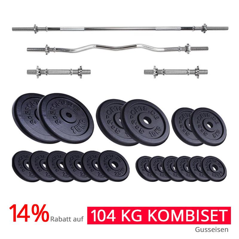 14% Rabatt auf 104 kg Profi-Komplettset mit Hantelstangen und Hantelscheibenset Gusseisen -> 154,76 € inkl. Versand