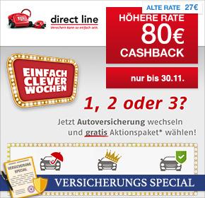 directline jetzt 80 Euro Cashback über Shoop