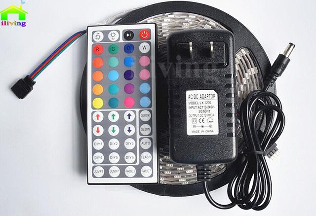 I-Living LED Streifen für 11,22€ / Non Waterproof für 9,80 € ---5M 5050 RGB IP65 Wasserdicht, 44KeyIR Fernbedienung, 3A EU Stecker, IR Empfänger [Aliexpress]