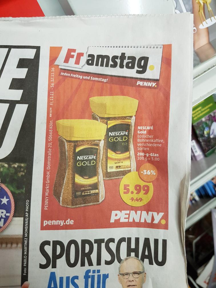 Nescafe Gold 200g 5.99€ Penny Markt Bundesweit