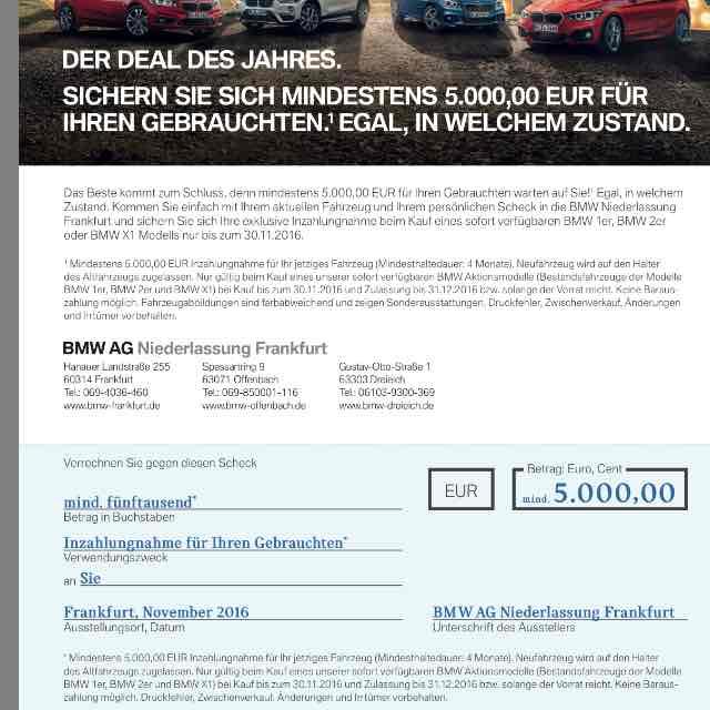 BMW Deal des Jahres - min. 5000 € für das jetzige Auto