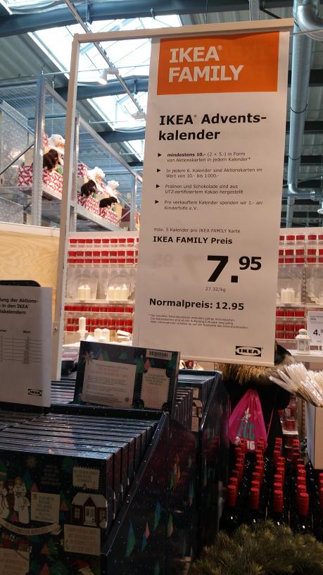 IKEA Adventskalender mit Family Karte für 7.95 (Berlin Tempelhof)