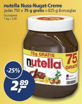 real,- ab 14.11.2016: Nutella 750gr. + 75gr. = 825gr. für 2,89 Euro (entspricht 3,50 Euro pro kg)