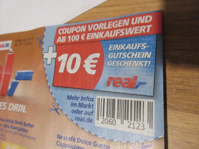 Real - 100 Euro einkaufen und 10 Euro Gutschein kassieren
