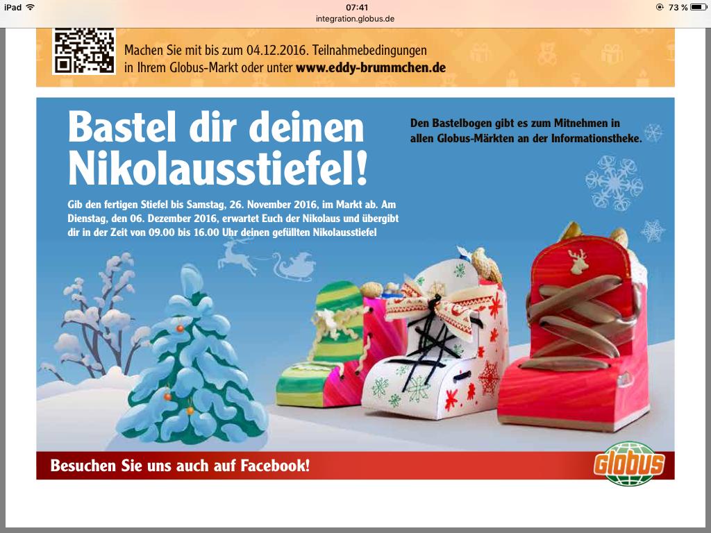 Nikolausstiefel - Füllaktion bei Globus
