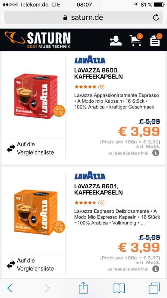 Lavazza Modo Mio Kapseln für 3,99 bei Saturn