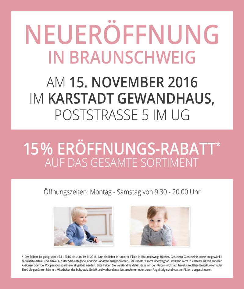 Baby Walz Neueröffnung in Braunschweig 15% auf alles