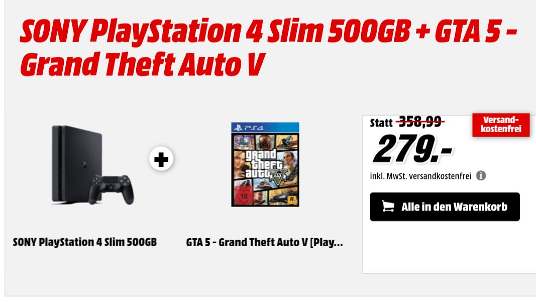 Ps4 + GTA 5 für 279 €