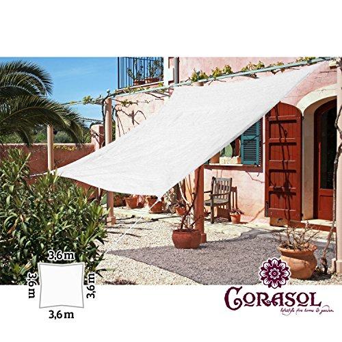 Corasol Premium Sonnensegel (weiß) 3,6 x 3,6 m für 12,51€