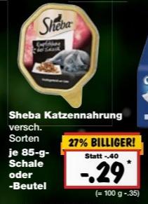 (Kaufland bundesweit ab 17.11) Sheba Katzennahrung je 85 gr. Schale/Packung für 0,29 €