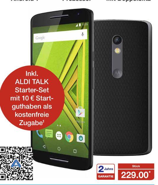 [Aldi Nord ab 24.11.] Motorola Moto X Play Smartphone (13,9 cm (5,5 Zoll) Display, 16 GB Speicher, Android 5.1) für 229€