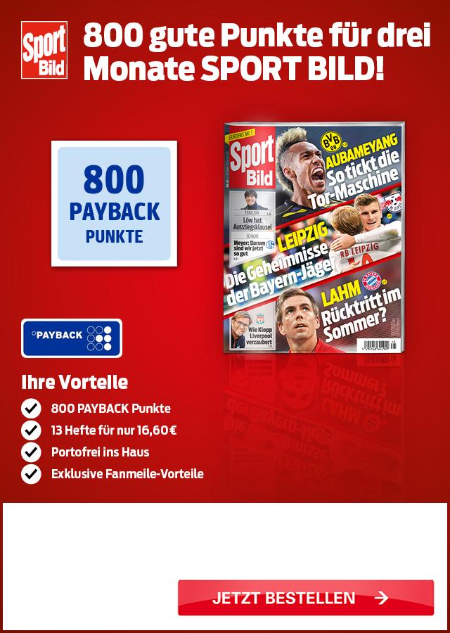 (lesershop24) 13 Ausgaben  Sport Bild und 800 Paybackpunkte für 8,60