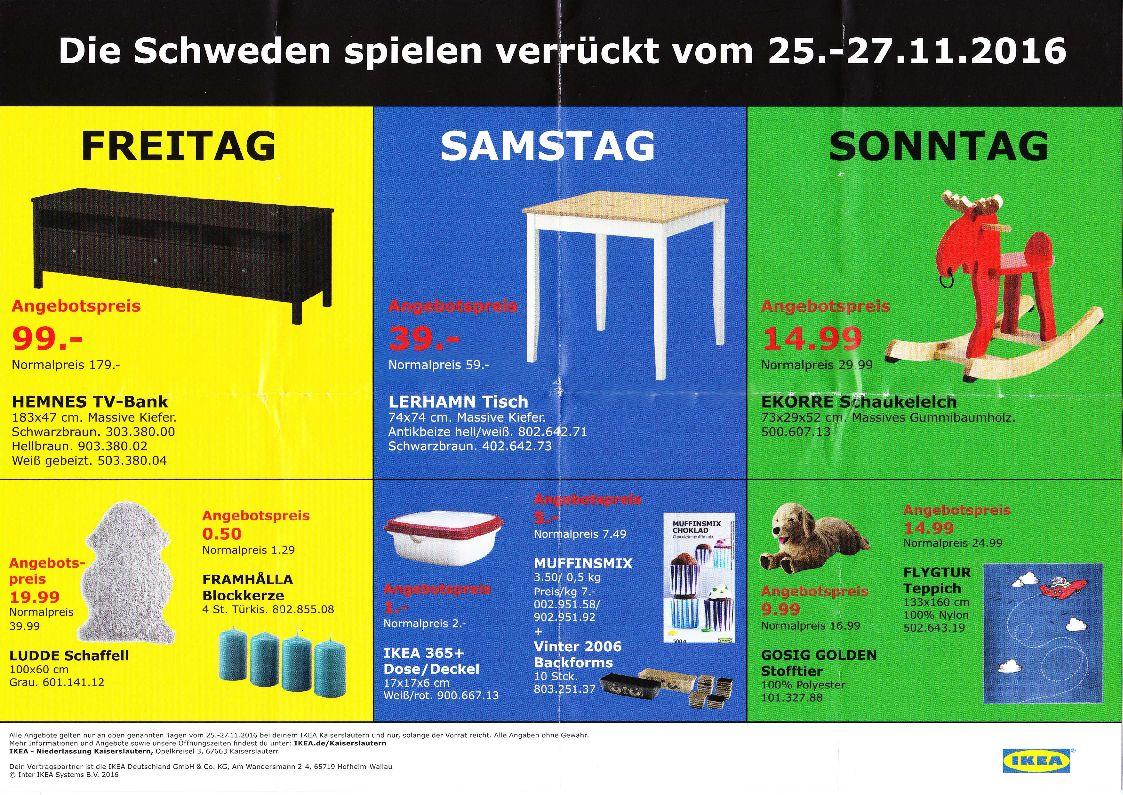 IKEA Kaiserslautern - Black Friday Angebote - Hemnes TV-Bank, Lerhamn Tisch, Ekorre Schaukelelch u.a.