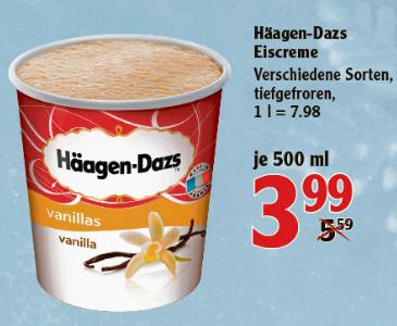 Häagen Dazs Eiscreme versch. Sorten 500ml für 3,99€ bei Globus bis Samstag