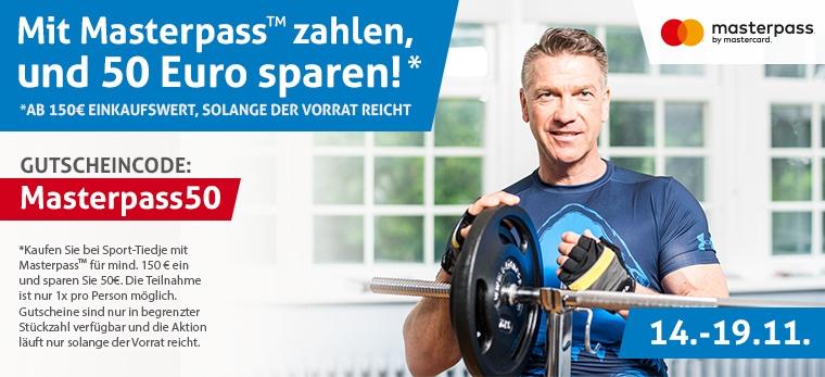 50 € Rabatt per Zahlung mit Masterpass ab 150 € Bestellwert (Sport-Tiedje)