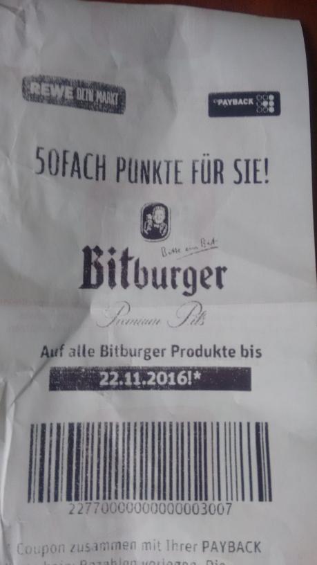 Rewe - Durch 50fach auf Bitburger 2,- pro Stubbikasten sparen