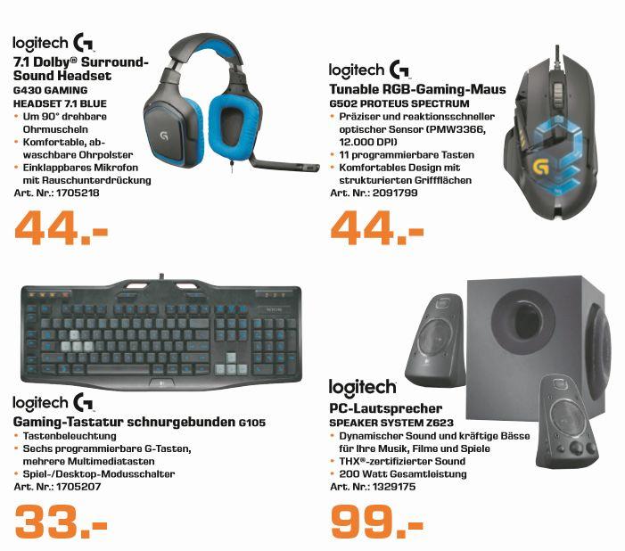 [Saturn ab 16.11] Logitech Produkte- Gaming Keyboard G105 DEfür 33,-€**Logitech G502 Proteus Spectrum und Logitech G430 7.1 Headset für je 44,-€**Logitech Z623 2.1 PC Lautsprecher für 99,-€