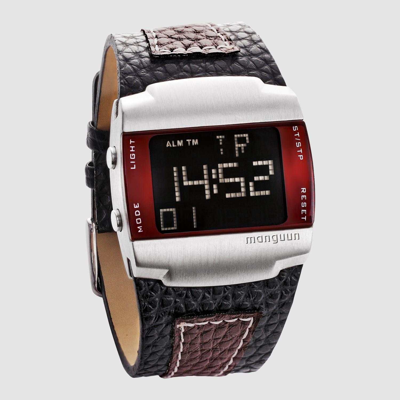 manguun Herren Uhr Digital schwarz/braun