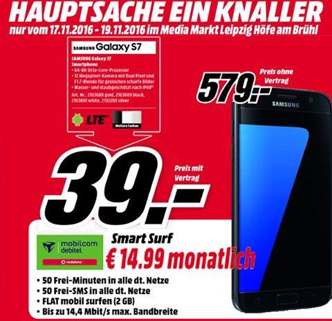 [LOKAL Leipzig: MM Höfe] Samsung Galaxy S7 + 2 GB-Vertrag Vodafone Netz für 398,76 €