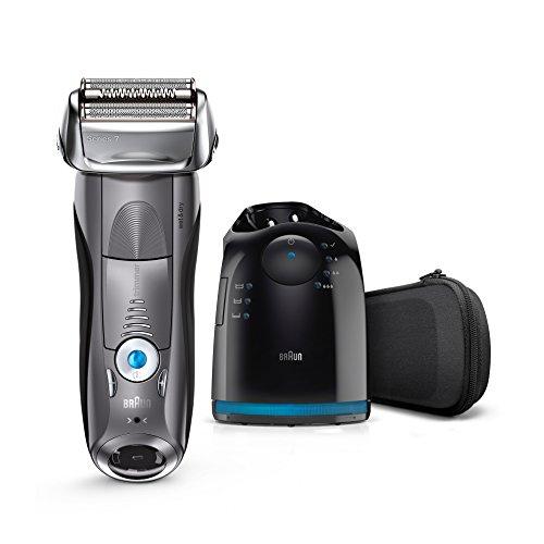 Braun Series 7 7865cc Elektrischer Rasierer / Rasierapparat (Reinigungsstation (Clean und Charge) und Reise-Etui, Elektrorasierer einsetzbar als Trockenrasierer und Nassrasierer (Wet und Dry)), grau