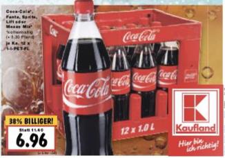 [Kaufland] Coca-Cola, Fanta, Sprite, Lift oder Mezzo-Mix, 12 x 1 Liter, je Kasten 6,96 Euro