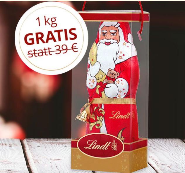 Gratis 1kg Lindt Weihnachtsmann im Wert von 39,00€ -> für eine Bestellung in Höhe von 24,95 € zzgl. 3,95 € Versandkosten