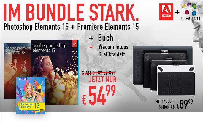 Adobe Premiere Elements 15 & Photoshop 15 + Buch für 55€ + Wacom Intuos Draw für 90€ insgesamt II 62% Ersparnis