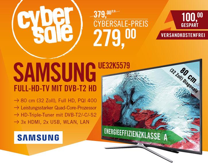 Cyberport / Samsung UE32K5579 – 32 Zoll Full HD Smart TV mit Triple Tuner für 279€ inkl. VSK