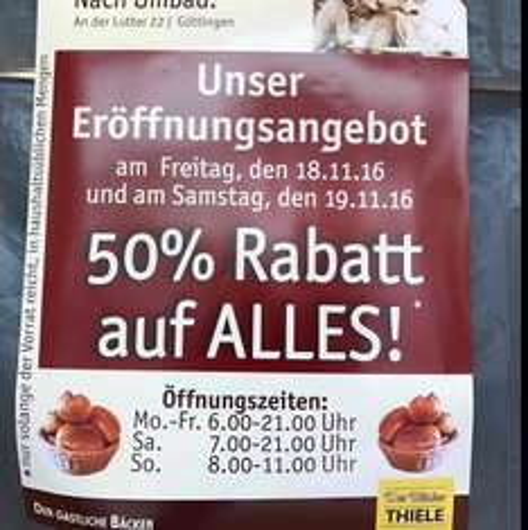 [Lokal Göttingen] 50% Rabatt auf Alles bei Thiele (Filiale: An der Lutter)