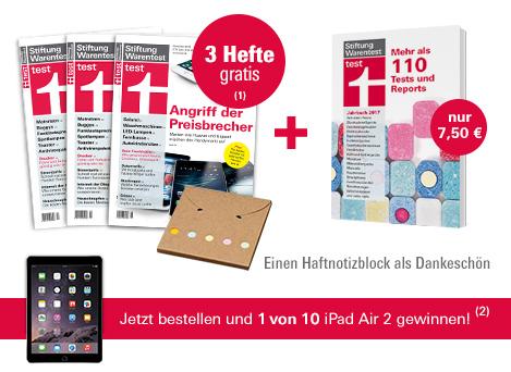 Stiftung Warentest Jahrbuch 2017, 3 Ausgaben test gratis, Haftnotizblock und Gewinnspiel iPad Air 2