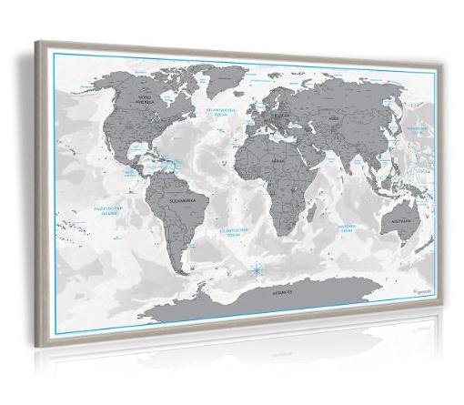 Wieder da: 3D Rubbel-Weltkarte mit Holzrahmen für 15,92€ oder einfache Rubbelkarte für 9,95€, beides inkl. VSK