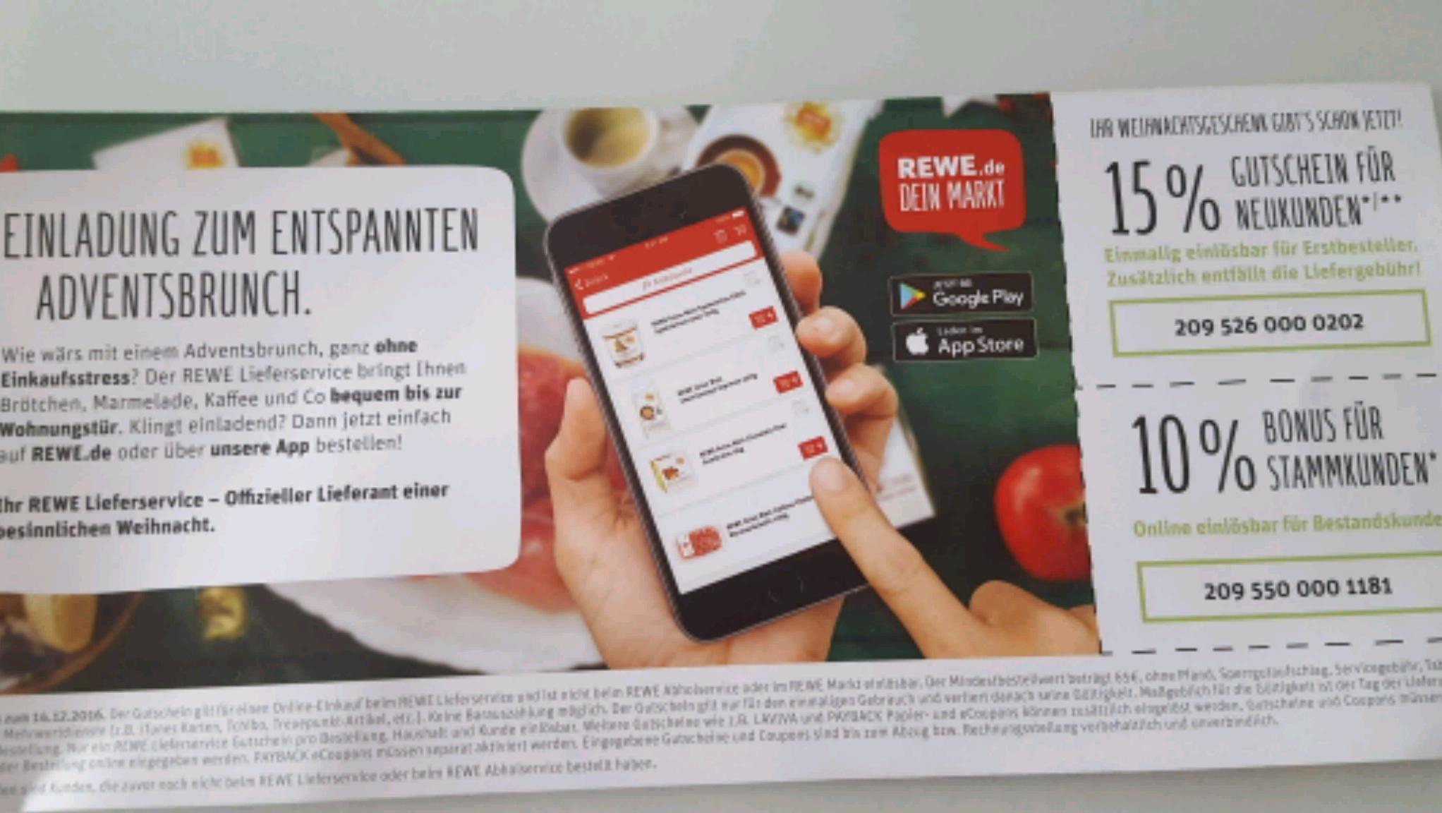 [Rewe.de Lieferservice] 15% Gutschein für Neukunden & 10% Bonus für Stammkunden (MBW 65€)