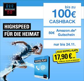 [Shoop.de] NetCologne Köln/Bonn - Doppel-Flats mit bis zu 100€ Cashback + 25€ Startguthaben + 50€ Amazon.de Gutschein + 17,90€ mtl. in den ersten 12 Monaten - z.B. 50.000 für 22,44€ mtl.