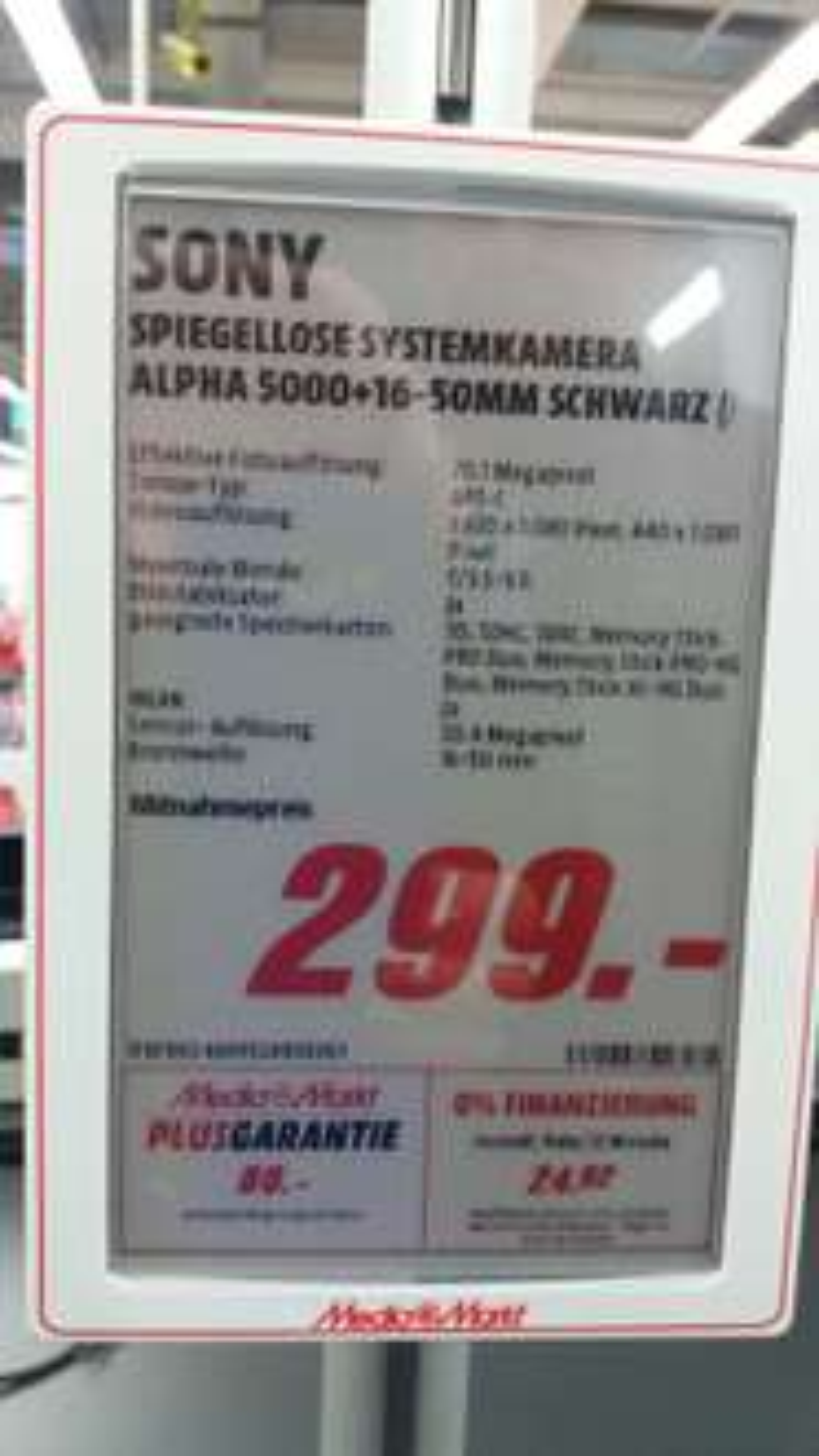 [Lokal MediaMarkt Köln Marsdorf] Sony Alpha 5000 Kit 16-50 mm schwarz für 299 Euro