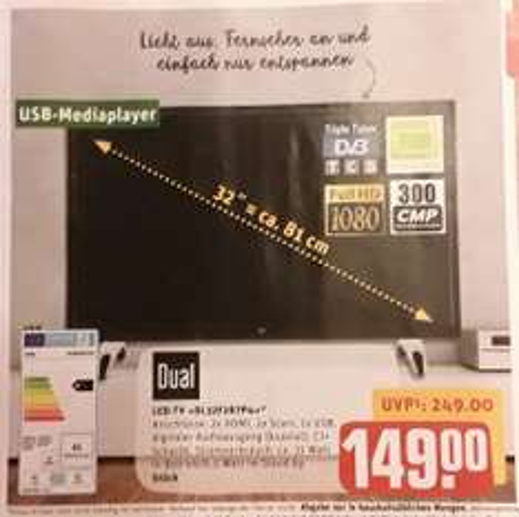 Full HD 32 Zoll LED-TV Dual DL32F287P4 mit Triple-Tuner (inkl. DVB-T2) für 149€ @ REWE-Center/Rewe-Markt [offline ab 21.11]