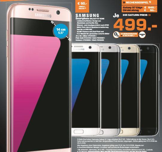 [Lokal Saturn Hamburg/Norderstedt ab 23.11] Samsung Galaxy S7 für 429,-€ und Samsung Galaxy S7 Edge für 499,-€ **Alle Farben**Zum Teil sogar inc.Level One Kopfhörer