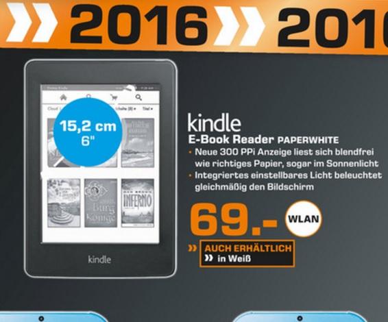 (Lokal) Kindle Paperwhite WiFi (Schwarz oder Weiß) für 69€ @ Saturn Gelsenkirchen