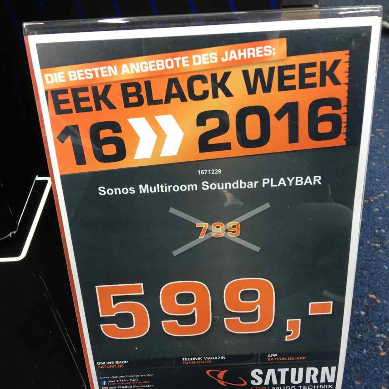 (Lokal) Saturn Stuttgart, Sonos Playbar für 599,-