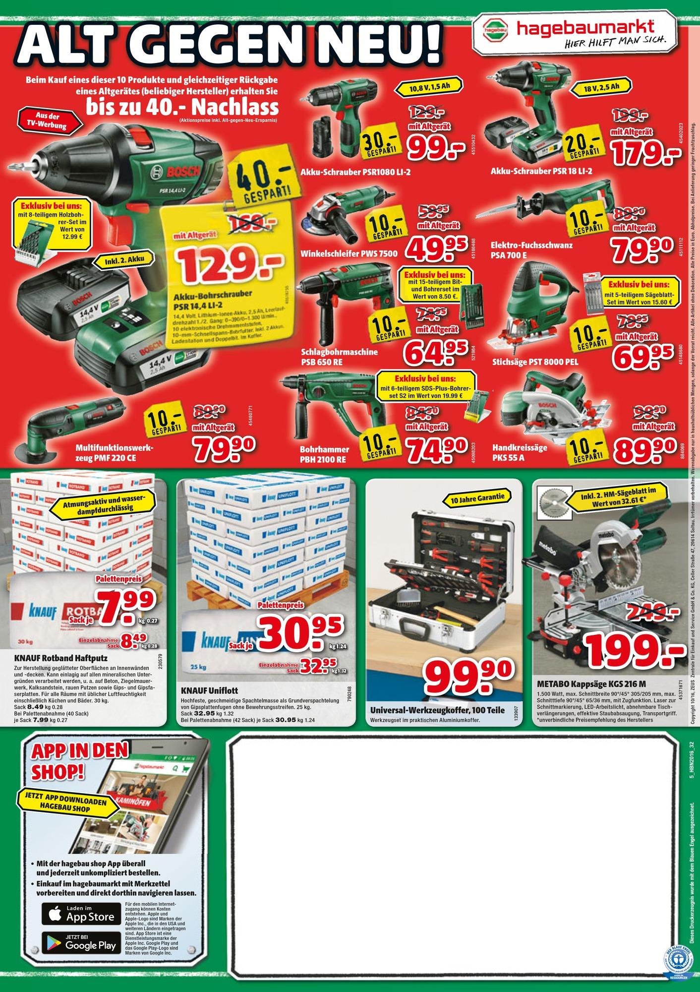 [Hagebau OFFLINE] ALT gegen NEU Aktion bis zu 40€ Nachlass auf Bosch Werkzeuge