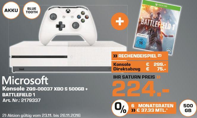 [Saturn Herford ab Mittwoch] MICROSOFT Xbox One S 500GB Konsole - Battlefield 1 Bundle für 228,99€ inc. Versand. Lokal für 224,-€