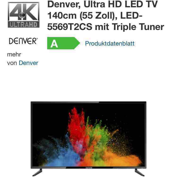 (Real.-online) Denver, Ultra HD LED TV 140cm (55 Zoll), LED-5569T2CS mit Triple Tuner für 433,95 € und vor Ort nur 399 €