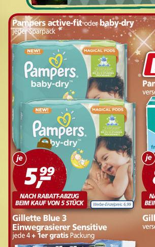 Real Pampers für Baby Dry 2,24 Euro / Activ Fitt 4,24 pro Paket / 84,80 Euro gesammt
