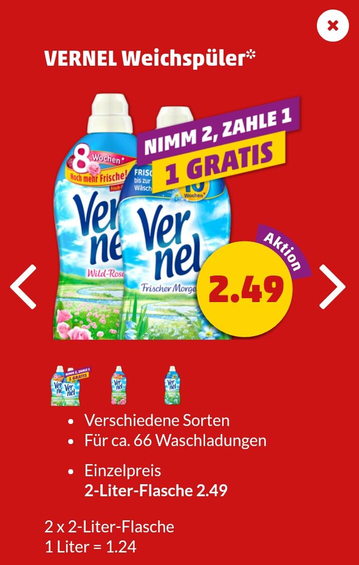 [Penny] 2 x 2 l Vernel Weichspüler für 2,49 Euro