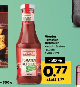 netto ab 21.11 Werder Tomatenketchup versch. sorten 450ml